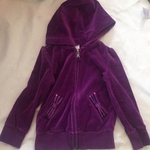 Purple velour zip up hoodie